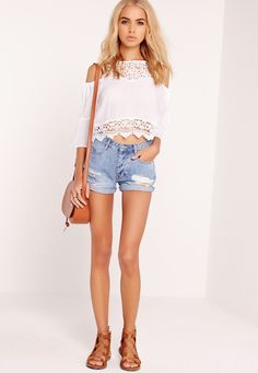 Missguided - Lace Yoke Cold Shoulder Top White