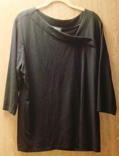New Style & Co. Womens Plus Size 1X Black Stretch 3/4 Sleeve Top Blouse shirt #Styleco #KnitTop #Casual