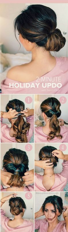 Easy, 2-Minute Holiday Updo Hairstyle | #SamsCulb http://lbx.la/d8Gs #ad