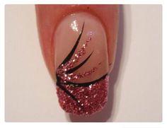 Black and pink glitter manicure