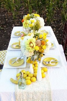 "lots of yellow...along with fruit and crisp white linens ""live by the sun"""