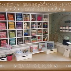sewing fabric storage easy cubby shelf fat quarter fabric storage ideas - easy diy fabric stash organization - how to store your fabric, fat quarters, craft and scrapbooking supplies Craft Room Storage, Sewing Room Storage, Sewing Room Organization, Fabric Storage, Sewing Rooms, Diy Storage, Storage Ideas, Craft Rooms, Organization Ideas