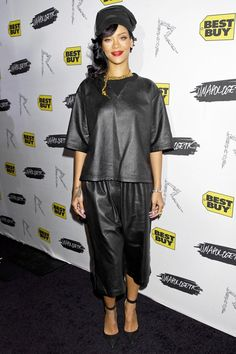 For the New York launch of her new album Unapologetic, Rihanna wore a Damir Doma leather T-shirt and culottes with Manolo Blahnik black stiletto shoes and a Chanel chain necklace.