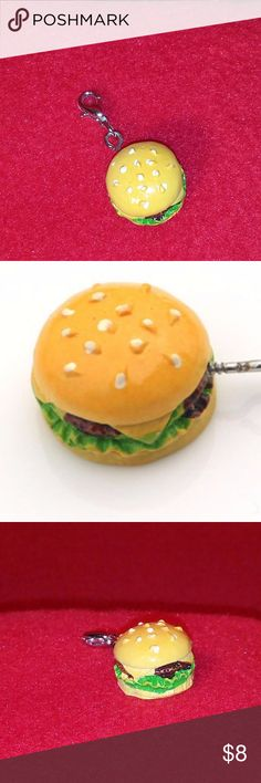 "World's Tiniest Cheeseburger Charm This Cheeseburger that looks so real it even has Sesame Seeds on it's Bun and melty cheese on the burger! Charm is so cute! Clip onto your purse, keys, cellphone, backpack and more!  Resin charm has silver hardware with lobster clasp  It's 1/2"" in circumference   #cheeseburger #handmade  #gift  #funfastfood  #pinky #stocking stuffer  #charm  #cellphone #pursecharm Pinky Lemonade Accessories Phone Cases"