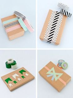 Papermash via Lucky Pony - Washi Tape Gift Wrapping Inspiration