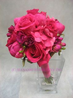 WEDB071 Hot Pink Flowers Wedding Bouquet