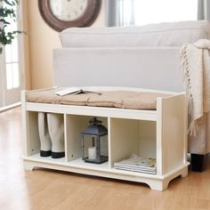 Kendall Cubbie Bench - Antique White - Indoor Storage Benches at Hayneedle