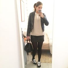 Pin for Later: 27 Real-Girl Mirror Selfies That Inspired Our Next-Day Outfit Who Says You Can't Wear Tights With Sneakers? Keep your legs warm and your toes toasty.