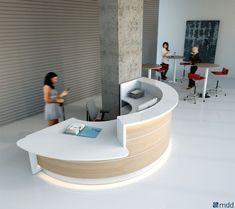 office furniture reception desk counter best desks by images on rounded ikea Curved Reception Desk, Curved Desk, Reception Desk Design, Reception Counter, Reception Furniture, Office Reception Desks, Modern Reception Area, Reception Table, Receptionist Desk