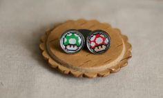 Super Mario 1-Up & Super Mushrooms' Earrings - Super Mario Pixel Art - Pixel Earrings