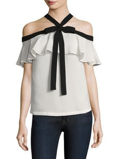 Ruffled Cold Shoulder Top by Renvy at Gilt