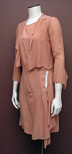 Vintage Late 1920s Persimmon Silk Chiffon Dress and Jacket SZ S