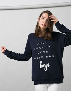 Basic BSK terry round neck jumper - Sweatshirts - Bershka United Kingdom