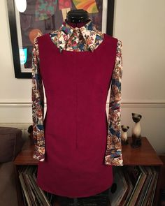 Vintage Blouse, Dress Making Patterns, Make Time, Dressmaking, Corduroy, Stitching, Burgundy, High Neck Dress, Cool Stuff