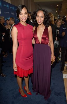 celebritiesofcolor: Zoe Saldana and Kerry Washington attend the 26th Annual GLAAD Media Awards at The Beverly Hilton Hotel on March 21, 2015