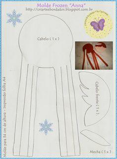Elsa Fans Products For Your Favorite Frozen Character Frozen Projects, Frozen Crafts, Felt Patterns, Craft Patterns, Star Patterns, Felt Diy, Felt Crafts, Felt Dolls, Paper Dolls