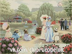 """""""A Stroll in the Park"""" after the artwork of Christa Kieffer Cross Stitch Collection, Just Cross Stitch, Stitch 2, Cross Stitch Patterns, Photo Wall, Embroidery, Artwork, Crafts, Handmade"""