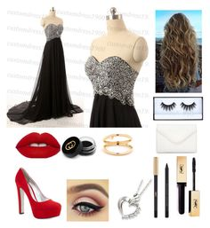 """""""Prom Night"""" by abbyholcomb0 ❤ liked on Polyvore featuring Prada, Huda Beauty, Gucci, Yves Saint Laurent and Neiman Marcus"""