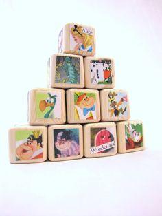 Alice in Wonderland Baby Blocks Nursery Decor & Baby by MiaBooo, $35.00