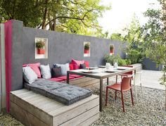 Love the bench seating and high fencing and colours