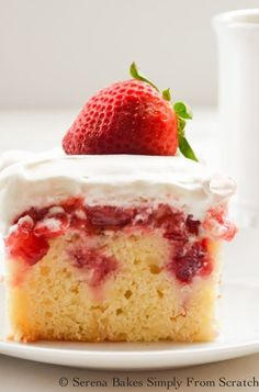 Strawberry Shortcake Poke Cake ~ A light lemon buttermilk yellow cake filled strawberries and covered in whip cream. Strawberry Shortcake Poke Cake is perfect for gatherings. Strawberry Poke Cakes, Strawberry Shortcake Recipes, Strawberry Recipes, Strawberry Puree, Strawberry Frosting, Strawberry Topping, Poke Cake Recipes, Dessert Recipes, Easter Recipes