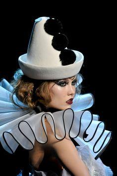 Christian Dior clown couture A Nutcracker Ballet Noel Gift Idea; Pierrot Costume, Pierrot Clown, Clown Hat, Circus Clown, Circus Theme, Circus Fashion, Fashion Art, Dark Fashion, Christian Dior