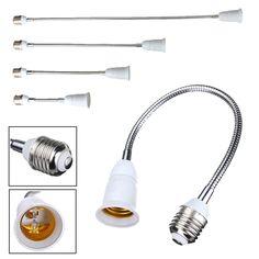 E27 LED Bulb Lamp Holder Flexible Extension Adapter Converter White