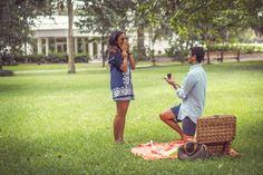 How cute! He hid the engagement ring for her to find in the picnic basket.