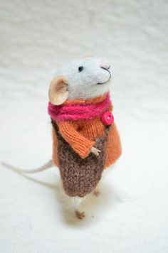 Little Traveler Mouse with recycled swaeter - unique - needle felted $68,00, via Etsy.
