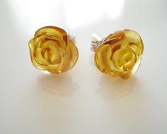 Lovely Amber Rose Earrings, Sterling Silver earrings, Romantic Earrings on Etsy, £30.53