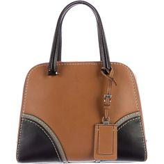 Now $595 - Shop this and similar Prada handbags - Brown calfskin leather Prada Vitello Luxe satchel with silver-tone hardware, white contrast stitching, black a...