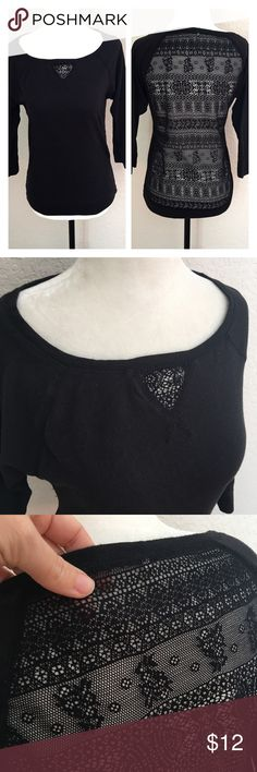 """Lace Back 3/4 Sleeve Top * Read full description. *Lace back top has lace cut out detail on front. Such a cute piece for Fall! 60% Cotton and 40% polyester. Measurements: Chest 16"""" and Length 24"""". ***Tag says Medium. Even though it has some stretch and chest can stretch to 18"""", I'd consider this a junior Medium or woman's Small Poof! Tops"""