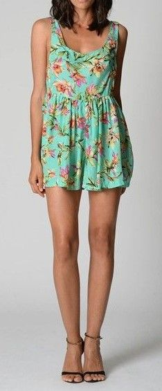 Green Tropical Print Playsuit  $19  size 8