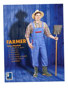 Are you ready for Halloween? A farmer is an easy DIY costume that you can throw together with items from your closet or a trip to Goodwill!
