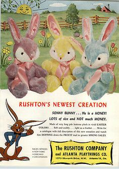 Easter Toys, Easter Bunny, Bunny Bunny, Bunnies, Bunny Toys, Bunny Plush, Vintage Advertisements, Vintage Ads, Retro Toys