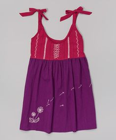Fuchsia Dandelion Embroidered Dress - Infant, Toddler & Girls by Little Cotton Dress #zulilyfinds