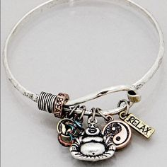 Buddha Yin yang Relax charm bracelet New! Use the add to bundle feature and save 15%. No trades. Burnished silver patina gold tone charm hook bracelet 2.5 inch diameter. Jewelry Bracelets