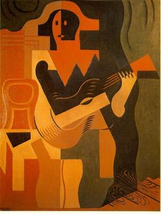 Georges Braque - Man with Guitar. Art Experience NYC www.artexperiencenyc.com/social_login/?utm_source=pinterest_medium=pins_content=pinterest_pins_campaign=pinterest_initial