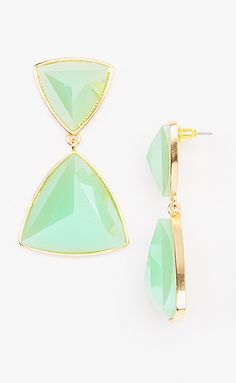 Green  Gold Triangle Statement Drop Earrings