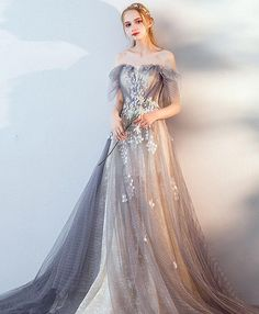 Description Gray tulle lace long prom dress, gray tulle lace evening dress, pictures of this product are pictures of the real object. Event Dresses, Ball Dresses, Ball Gowns, Prom Dresses, Gray Wedding Dresses, Bridesmaid Gowns, Occasion Dresses, Designer Evening Dresses, Lace Evening Dresses