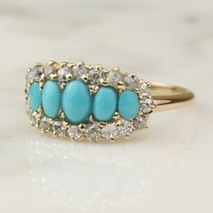 Victorian 14k Rose Gold Turquoise And 5 Stone Diamond Engagement Ring / .8 Carats