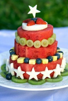 Red-White-Blue melon Stack Birthday Cake  make full fresh fruits. Happy  Birthday to you. Bless you good health and happily