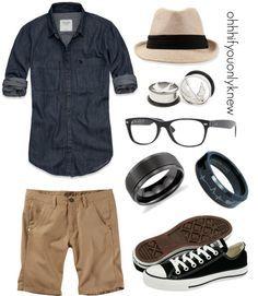 Blue denim shirt chambray  Polyvore khaki shorts fedora hat men's cool fashion summer or date