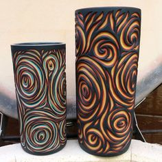 """Sean Forest Roberts on Instagram: """"*Sold* Back to the studio after busy Farmer market on the island. Forgot there was a glaze kiln to unload 😃 Couldn't help but take a…"""" Sgraffito, Plaster Crafts, Clay Texture, Candle Labels, Clay Art, Textures Patterns, Pillar Candles, Hand Carved, Arts And Crafts"""