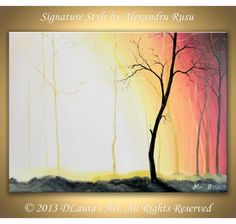 Large Contemporary ORIGINAL Abstract Modern Forest by DLaurasArt, $149.00