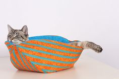 Cat Canoe Modern Kitty Bed in Orange and Turquoise by TheCatBall, $29.99