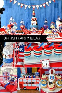 british birthday party ideas for boys London Theme Parties, British Themed Parties, Uk Parties, British Party, London Party, Circus Birthday, Boy First Birthday, Boy Birthday Parties, 13th Birthday
