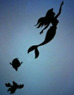 Ariel, flounder, & sebastian :) I want to get this as a tattoo ! But in color.