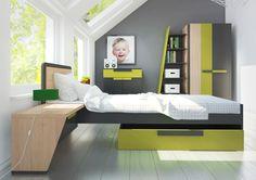 WOW meble młodzieżowo dziecięce  Kolekcja WOW to system mebli młodzieżowych dla kreatywnych i twórczych nastolatków. Asymetryczne kształty brył oraz wyjątkowe połączenie kolorów: grafitu, dębu nagano i zieleni iguana, pozwalają na stworzenie nowoczesnego i komfortowego wnętrza.