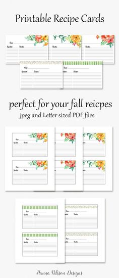 Recipe cards - printable 4x6 cards to organize your favorite recipes  ▶︎ Buy…